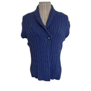 Blue Sleeveless Cable Knit Cardigan Wrap, L
